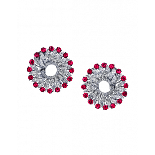 Rubies & Round Cut Diamonds Earrings