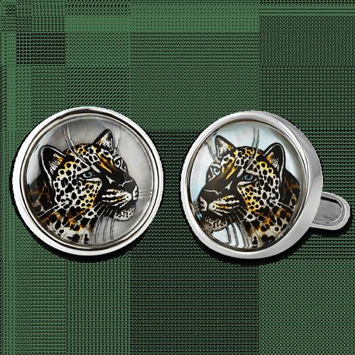 Curved Snow Leopard Cufflinks