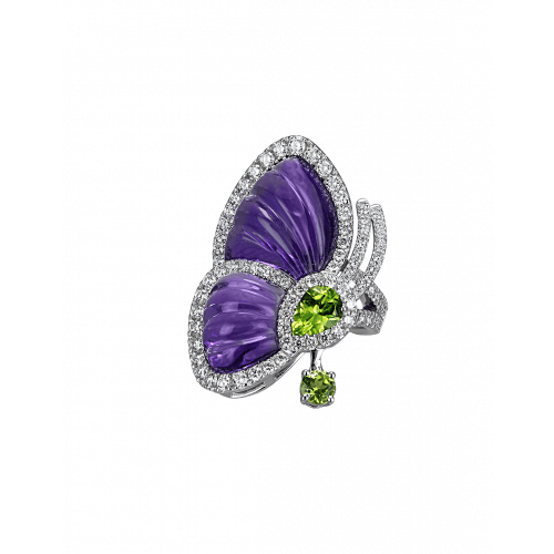 Amethyst Papillon Ring