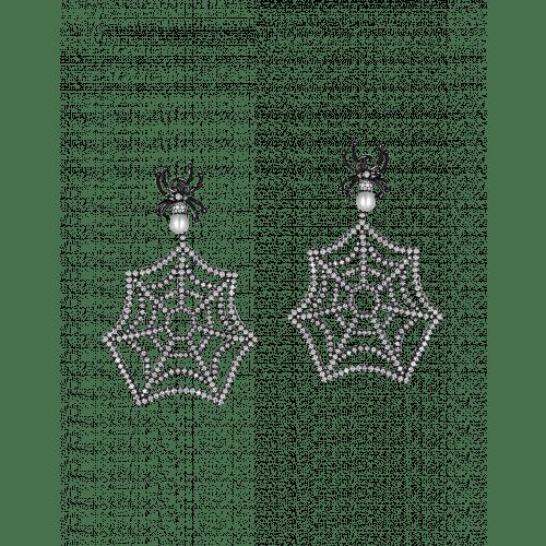 Black Plated Web Earrings