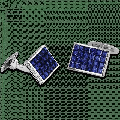 Rectangular Cufflinks Sapphire