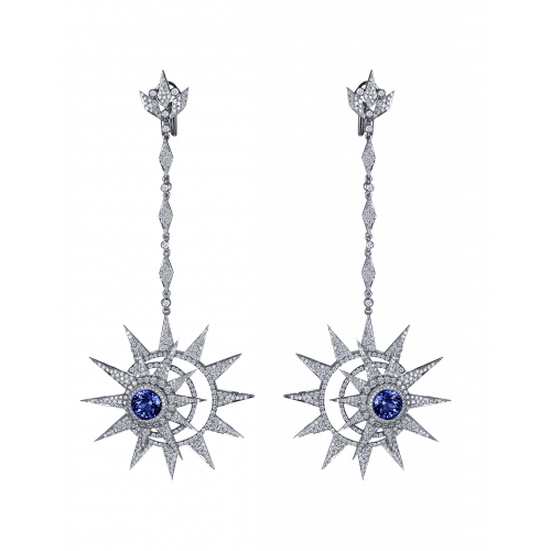 White Gold Long Earrings with with Blue Sapphire