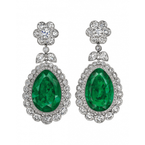 Old Mine Natural Colombian Emerald Drop Earrings