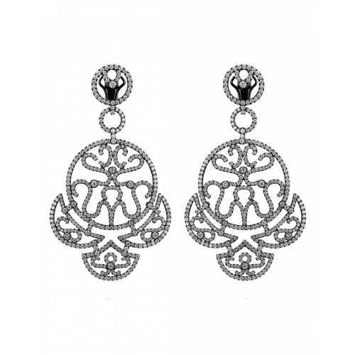 Black Plated Diamond Lace Chandelier Earrings