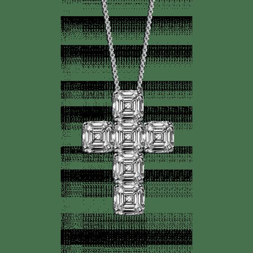 Asscher Cut Diamond Cross Pendant