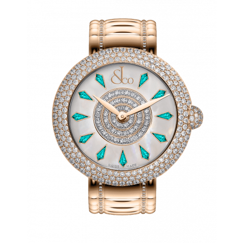 Brilliant Half Pave Rose Gold Couture Icy Blue Sapphires 38mm