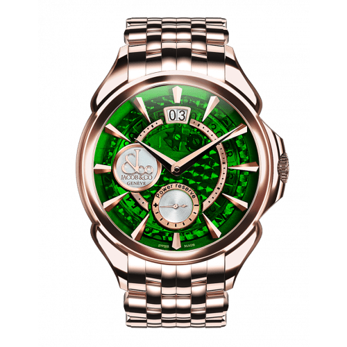 Palatial Classic Manual Big Date Green Mineral Crystal Dial - Rose Gold Case Bracelet
