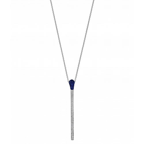 WHITE GOLD SAPPHIRE AND DIAMOND MATCH NECKLACE