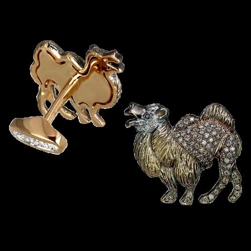 Rose Gold Brown Diamonds Camel Cufflinks
