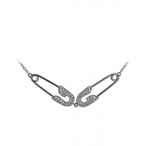 Small White Gold Diamond Double Safety Pin Necklace