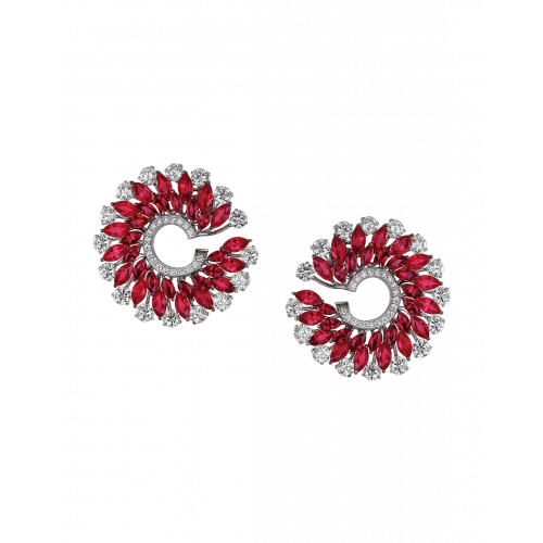 Marquise Cut Ruby Earrings Small
