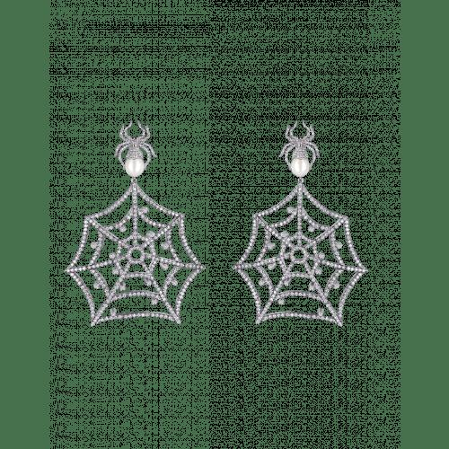 White Gold Web Earrings