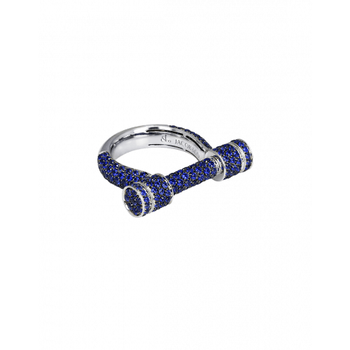 Full Pave Sapphire Estribo Ring