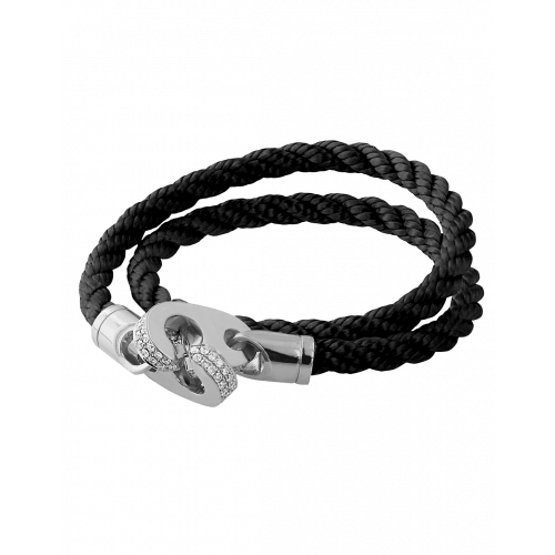 Perfect Fit Bracelet Double Strap White Gold with White Diamonds on Braided Black Rope