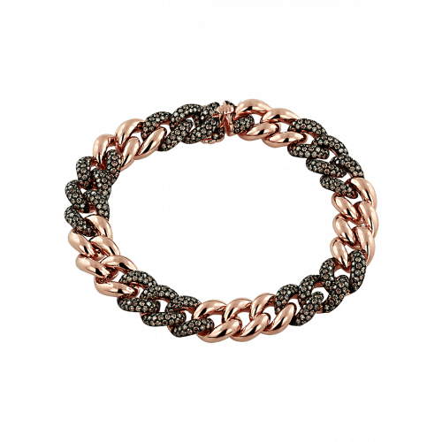 Cuban Link Bracelet Brown Diamonds
