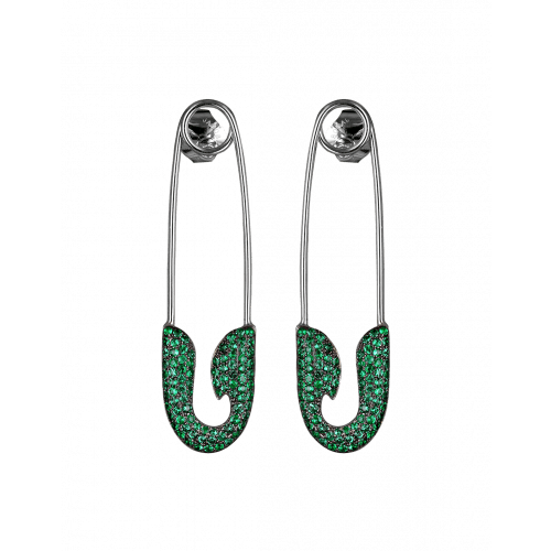 White Gold Emerald Safety Pin Earrings