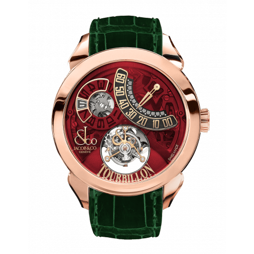 Palatial Flying Tourbillon Jumping Hours Rose Gold (Red Mineral Crystal)