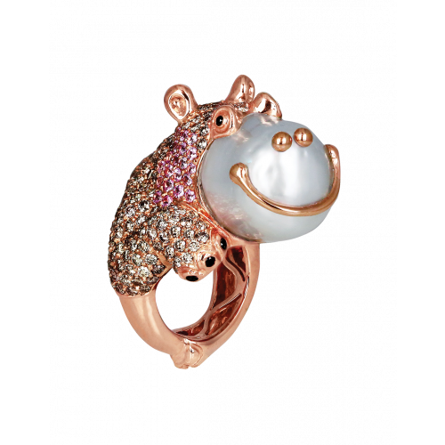 Hippo Pearl Ring