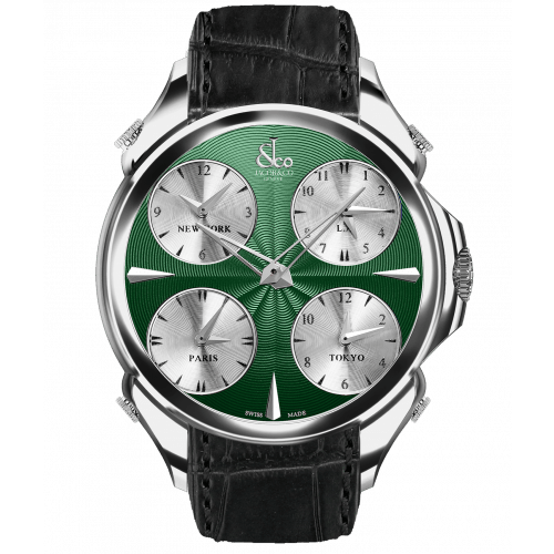 Palatial Five Time Zone Green Nickel Dial