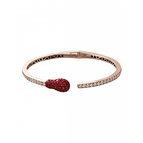Ruby and Diamond Rose Gold Match Cuff Bracelet