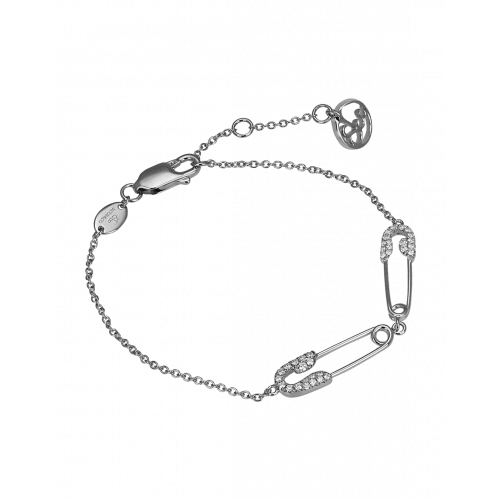 White Gold Diamond Double Safety Pin Bracelet