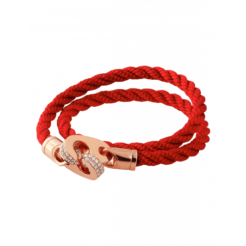 Perfect Fit Bracelet Double Strap Rose Gold with White Diamonds on Red Rope