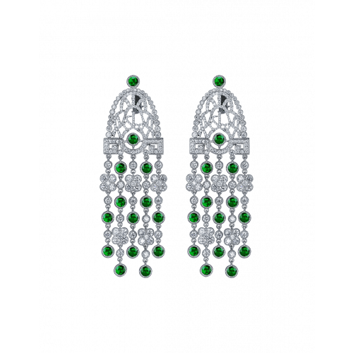 Jezebel Tsavorites and Diamond Earrings Short
