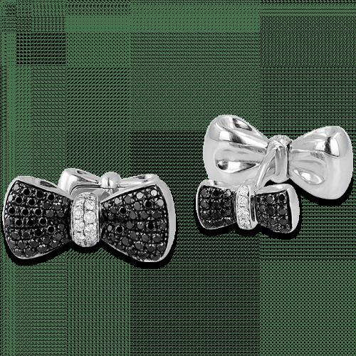 Large Bow Tie Cufflinks Black & White Diamonds