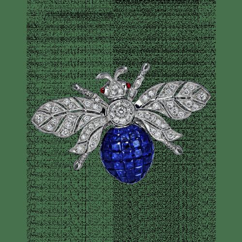 Blue Sapphire Bee Brooch