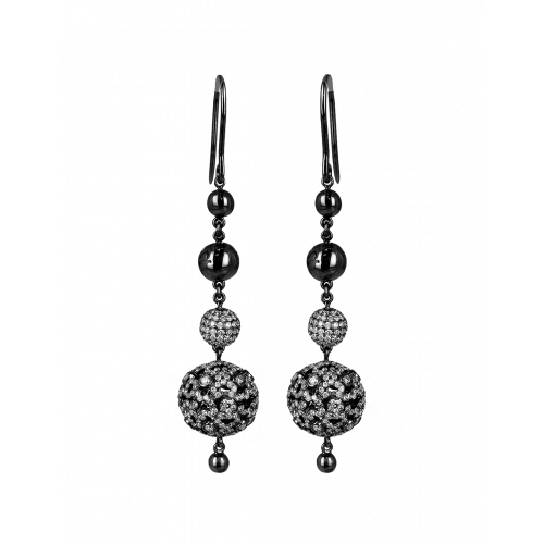 Lace Black Plated Diamond Ball Earrings