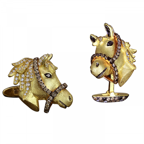 Two Tone Gold Horse Head Cufflinks