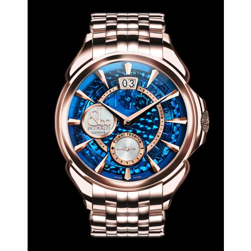 Palatial Classic Manual Big Date Blue Mineral Crystal Dial - Rose Gold Bracelet