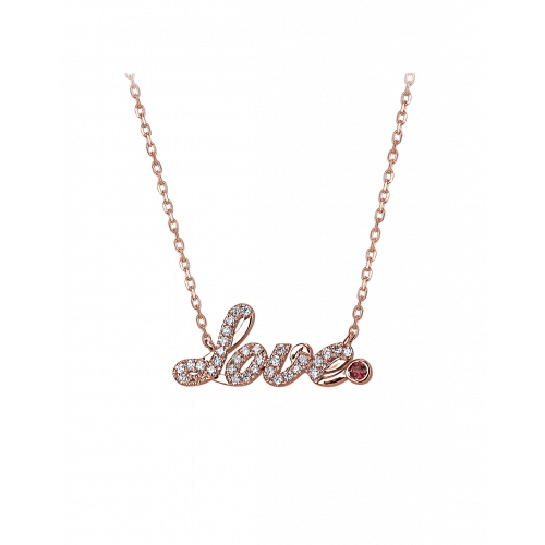 Smaller Rose Gold Pave Love Necklace