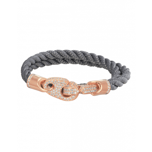 Perfect Fit Bracelet Double Strap Yellow Gold with White Diamonds on Charcoal Rope