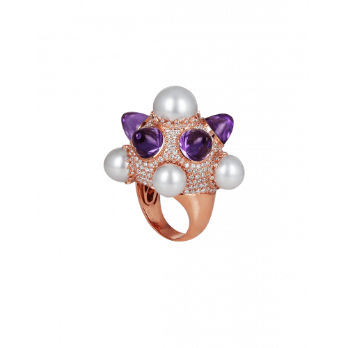 Rose Gold Pearl and Amethysts Ring
