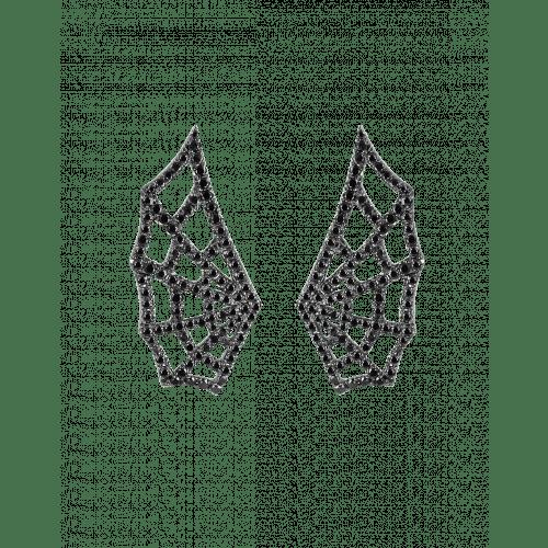 White Gold Black Diamond Spider Web Earrings