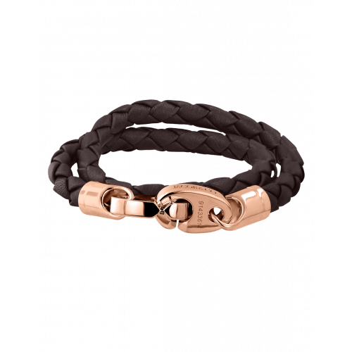 Perfect Fit Bracelet Double Strap Rose Gold Dark Brown Brummel Leather