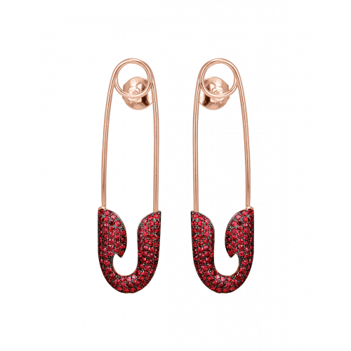 Rose Gold Ruby Safety Pin Earrings