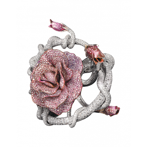 Diamond Rose Cuff Bracelet