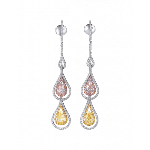 Two Strand Pink and Yellow Diamond Earrings