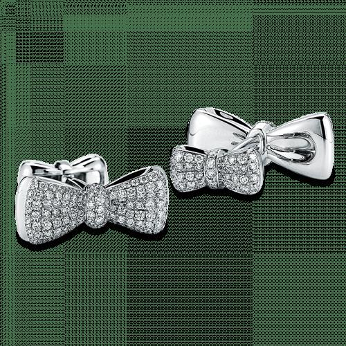 Bow Tie Cufflinks White Gold