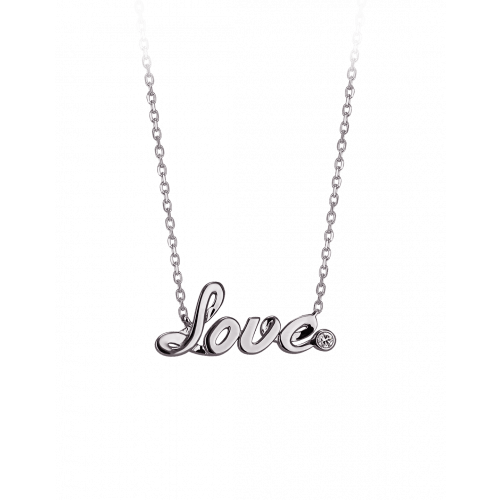 Smaller White Gold Plain Love Necklace