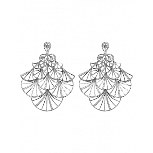 Half Pave White Gold Fan Earrings