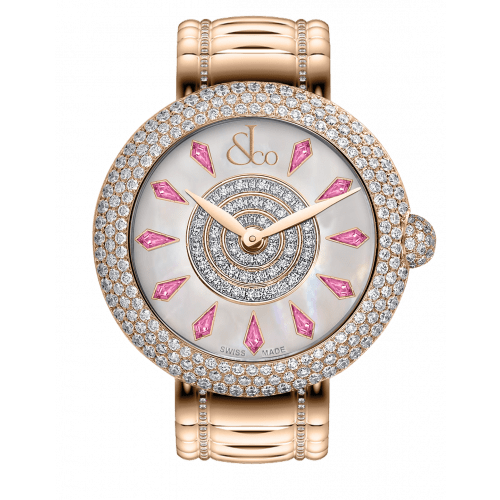 Brilliant Half Pave Rose Gold Couture Pink Sapphires 44mm