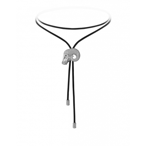 Zodiac Aries String Necklace White Gold Diamond