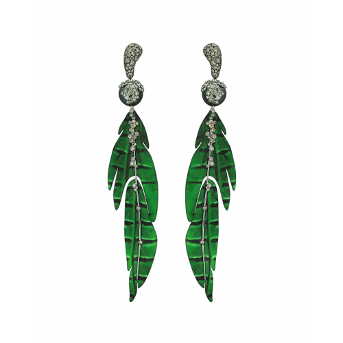 St. Barths Titanium and White Gold Green Leaf Earrings