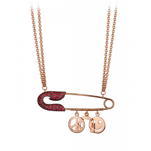 Large Rose Gold Ruby Safety Pin Necklace with Charms