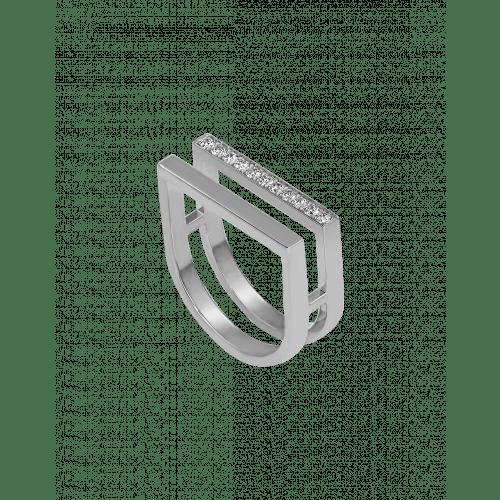 Nima's Classic Ring White Gold Half Pave