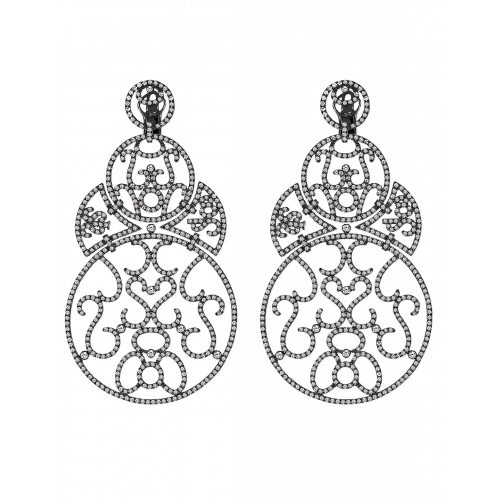 Lace Large Size Black Plated Diamond Lace Earrings