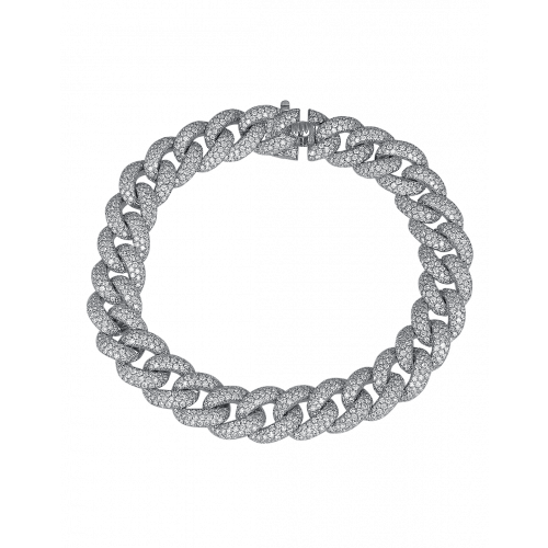 Cuban Link Bracelet White Diamond